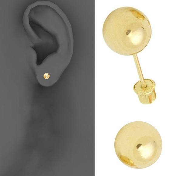 14k Solid Yellow Gold Ball Stud Earrings with Screw Back y